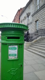 Even the post boxes are green